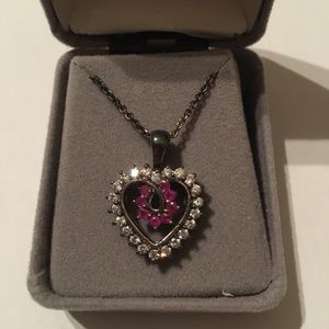 Jewelry - Sterling Silver / Pink Heart Pendant On Chain